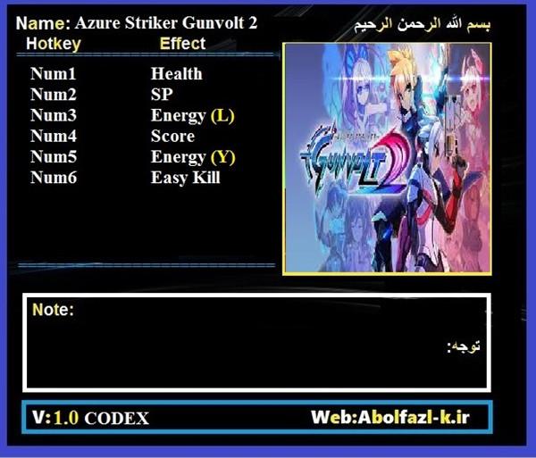 苍穹雷霆Gunvolt2六项修改器 v1.0 Abolfazl版
