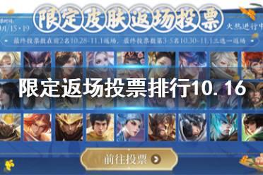 《王者榮耀》限定皮膚返場投票排行10.16 10月16日返場投票排行